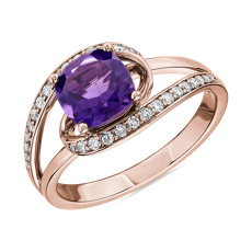 Cushion Cut Amethyst Ring with Twisting Halo in 14k Rose Gold