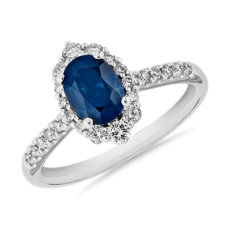 Sapphire and Diamond Pave Ring in 14k White Gold