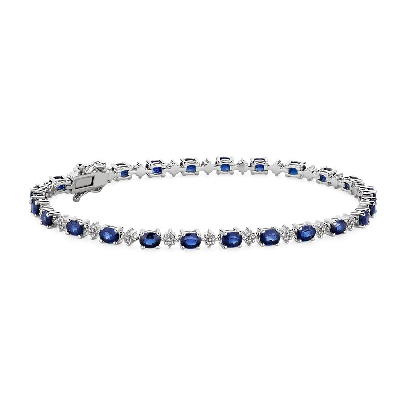 Oval Sapphire and Round Diamond Bracelet in 14k White Gold