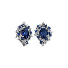 NEW Oval Sapphire and Diamond Starlight Earrings in 18K WG