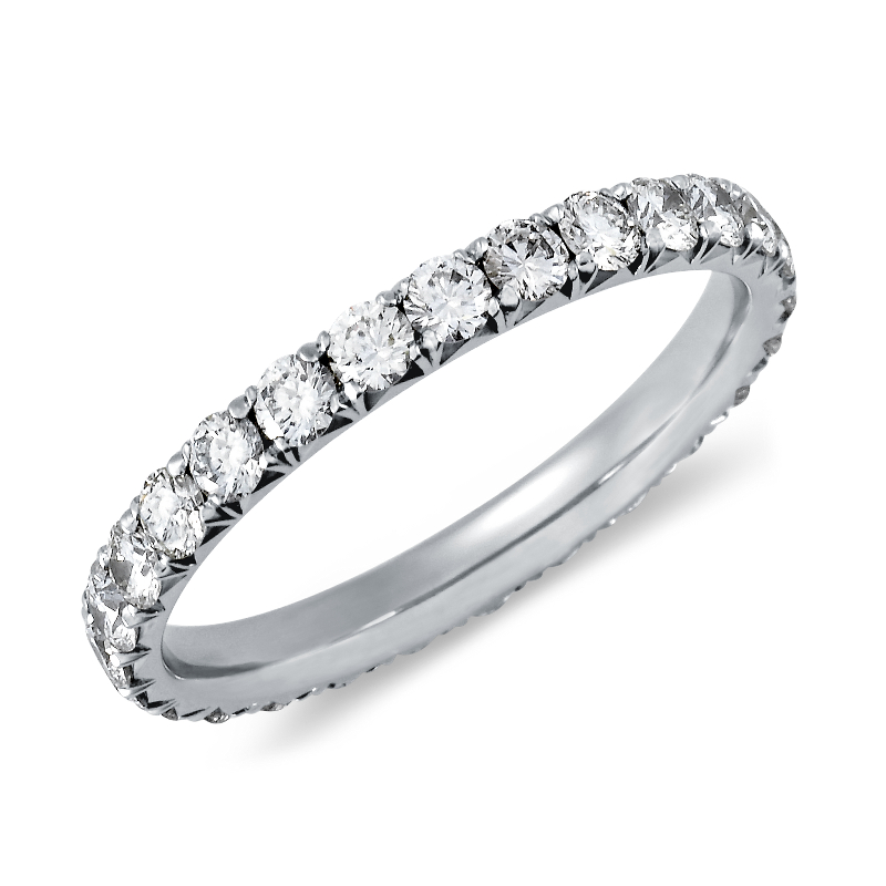 French Pavé Diamond Eternity Ring in 14k White Gold (1 ct.