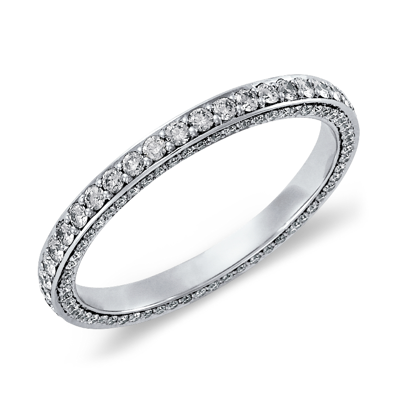 Trio Micropavé Diamond Eternity Ring in 14k White Gold (4/