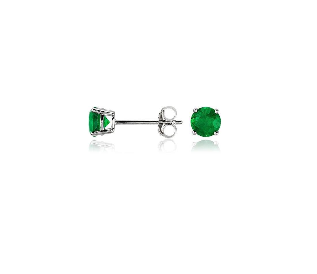 Emerald Stud Earrings in 18k White Gold (5mm)
