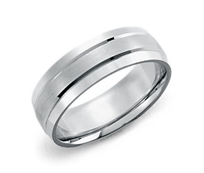 Double Inlay Comfort-Fit Wedding Ring in Palladium