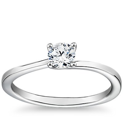 Petite Twist Four-Prong Solitaire Engagement Ring in Platinum