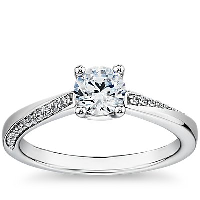 14k 白金密钉涡状钻石订婚戒指<br>(1/10 克拉总重量)