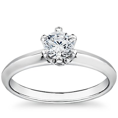 Tiger Prong Trellis Solitaire Engagement Ring in Platinum
