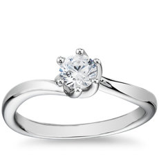 Tapered Twist Six-Prong Solitaire Engagement Ring in 14k White Gold