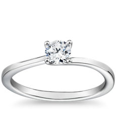 Petite Twist Four-Prong Solitaire Engagement Ring in 14k White Gold