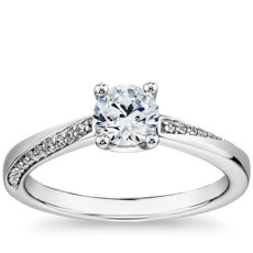 Pave Swirl Diamond Engagement Ring in 14k White Gold (1/10 ct. tw.)