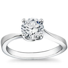 Tapered Twist Four-Prong Solitaire Engagement Ring in 14k White Gold