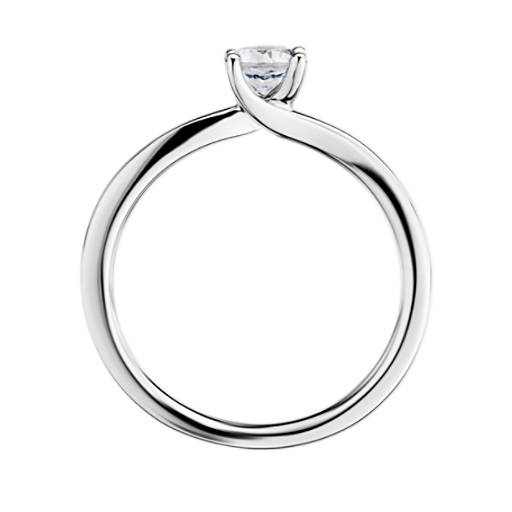 小巧扭纹四爪单石订婚戒指