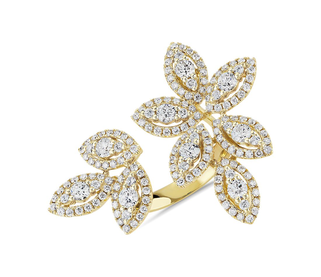 Diamond Foliage Fashion Ring in 14k Yellow Gold