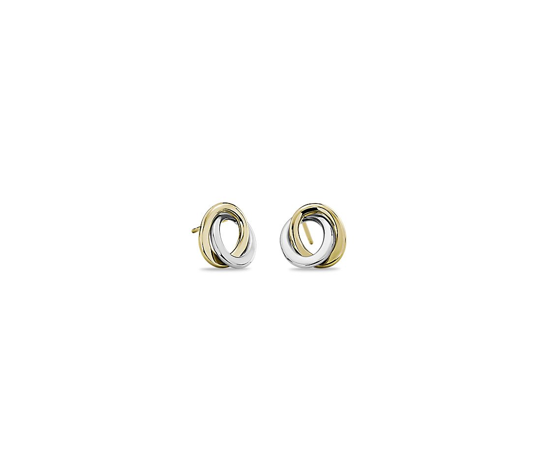 Two-Tone Love Knot Rope Earrings in 14k Italian White and Yellow Gold