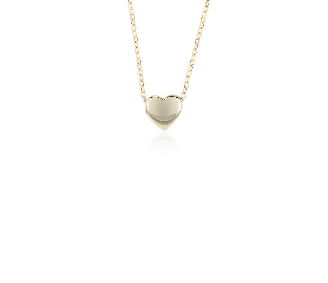 Floating Mini Heart Pendant in 14k Yellow Gold