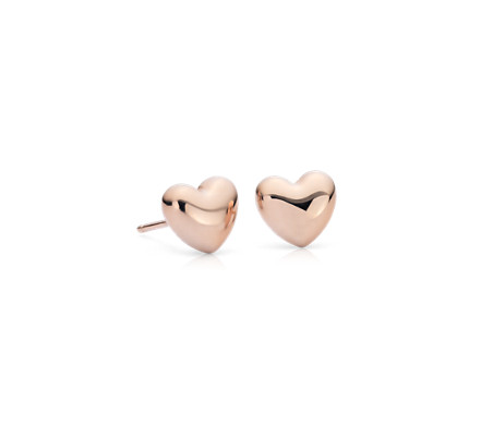 Puff Heart Stud Earrings in 14k Rose Gold