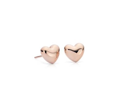 Puff Heart Stud Earrings in 14k Rose Gold