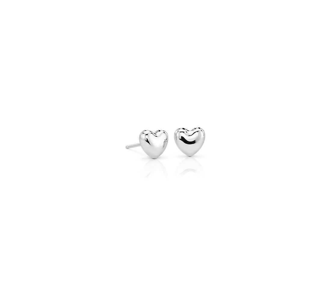 Puff Heart Stud Earrings in 14k White Gold