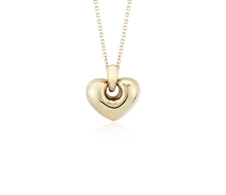 Puff Lock Heart Pendant in 14k Yellow Gold
