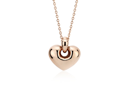Puff Lock Heart Pendant in 14k Rose Gold