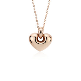 NEW Puff Lock Heart Pendant in 14k Rose Gold