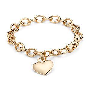 Bracelet médaille cœur soufflé en or jaune 14carats