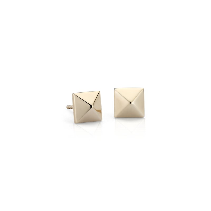 Pyramid Stud Earrings in 14k Yellow Gold