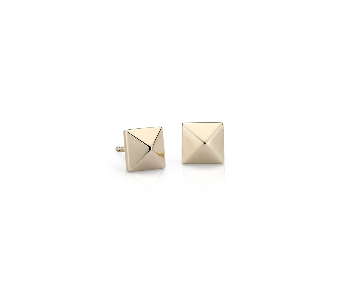 Pyramid Stud Earrings in 14k Yellow Gold
