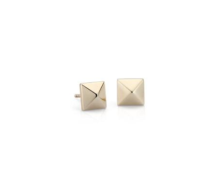 14k 黃金 金字塔耳釘耳環