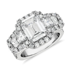 Bella Vaughan for Blue Nile Quartier Five-Stone Diamond Engagement Ring in Platinum (5.17 ct. tw.)