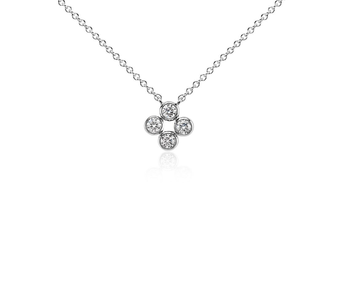 Quatrefoil Diamond Pendant in 14k White Gold