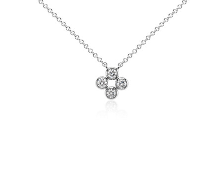Quatrefoil diamond pendant in 14k white gold blue nile quatrefoil diamond pendant in 14k white gold aloadofball