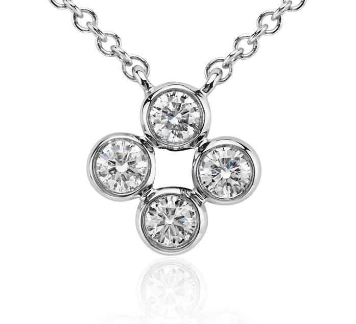 Pendentif diamant quadrilobé en or blanc 14carats