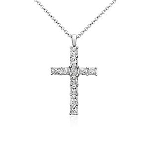 Radiant Cut Diamond Cross Pendant in 18k White Gold (2 ct. tw.)