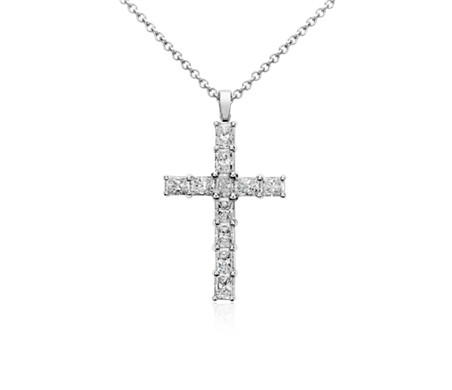 Radiant Cut Diamond Cross Pendant in 18k White Gold (2 ct
