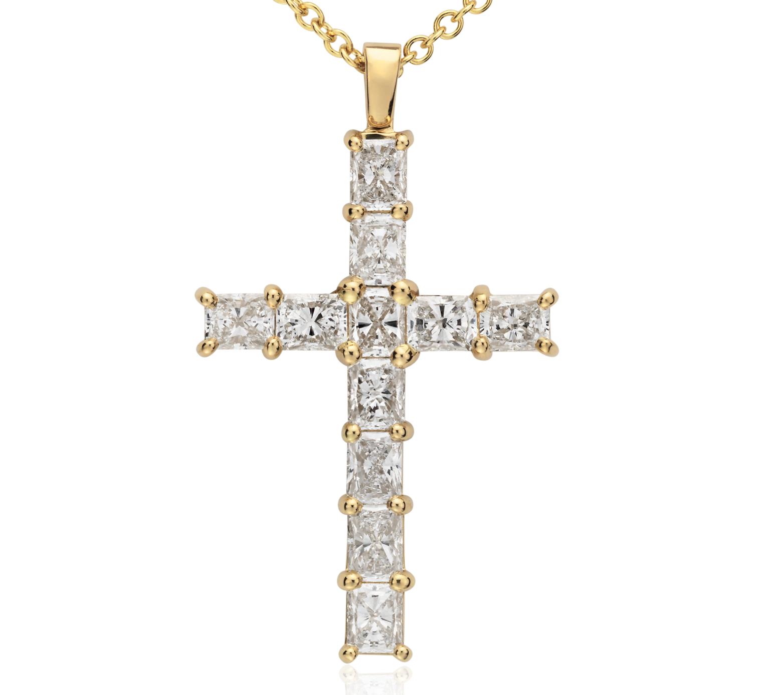 Pendentif croix en diamant taille radiant en or jaune 18carats (2carats, poids total)
