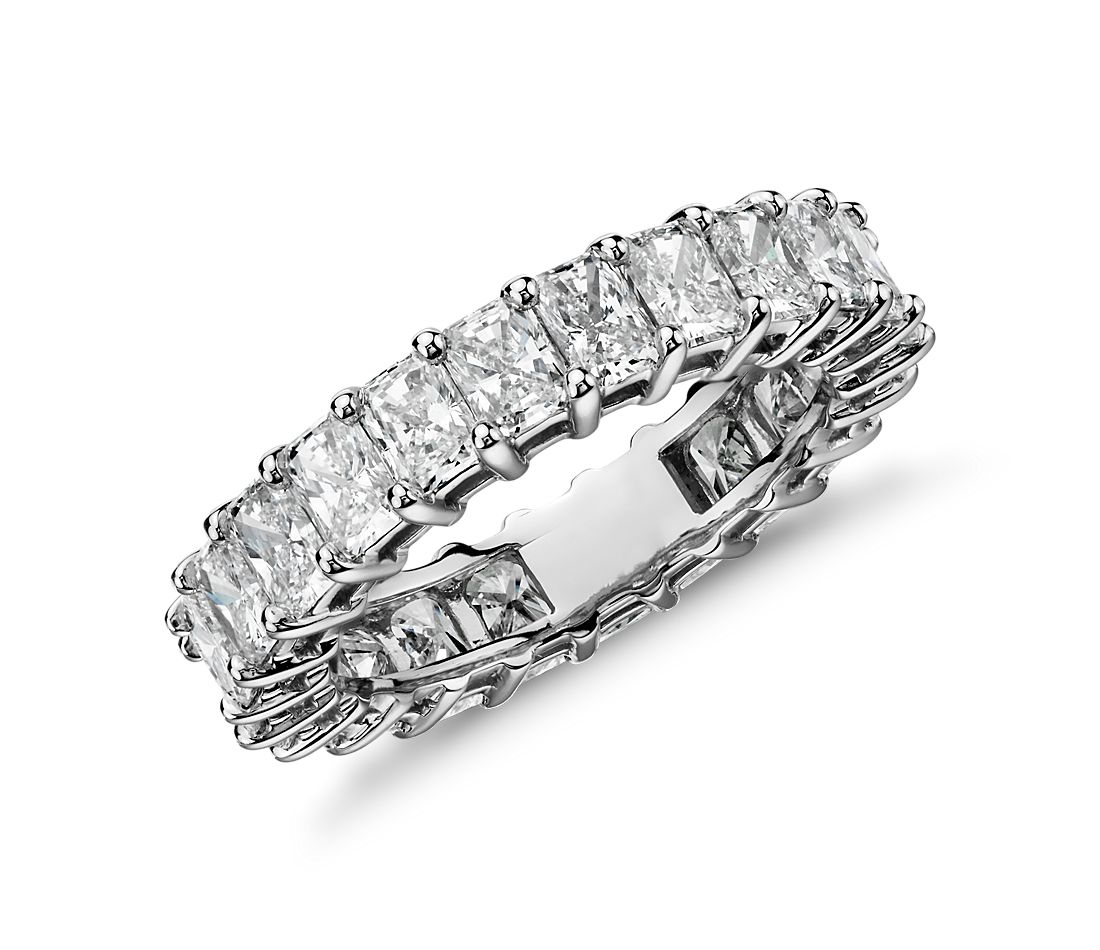 Radiant Cut Diamond Eternity Ring In Platinum 4 Ct Tw