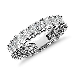 Bague d'éternité diamant taille radiant en platine (4,00 carat, poids total)