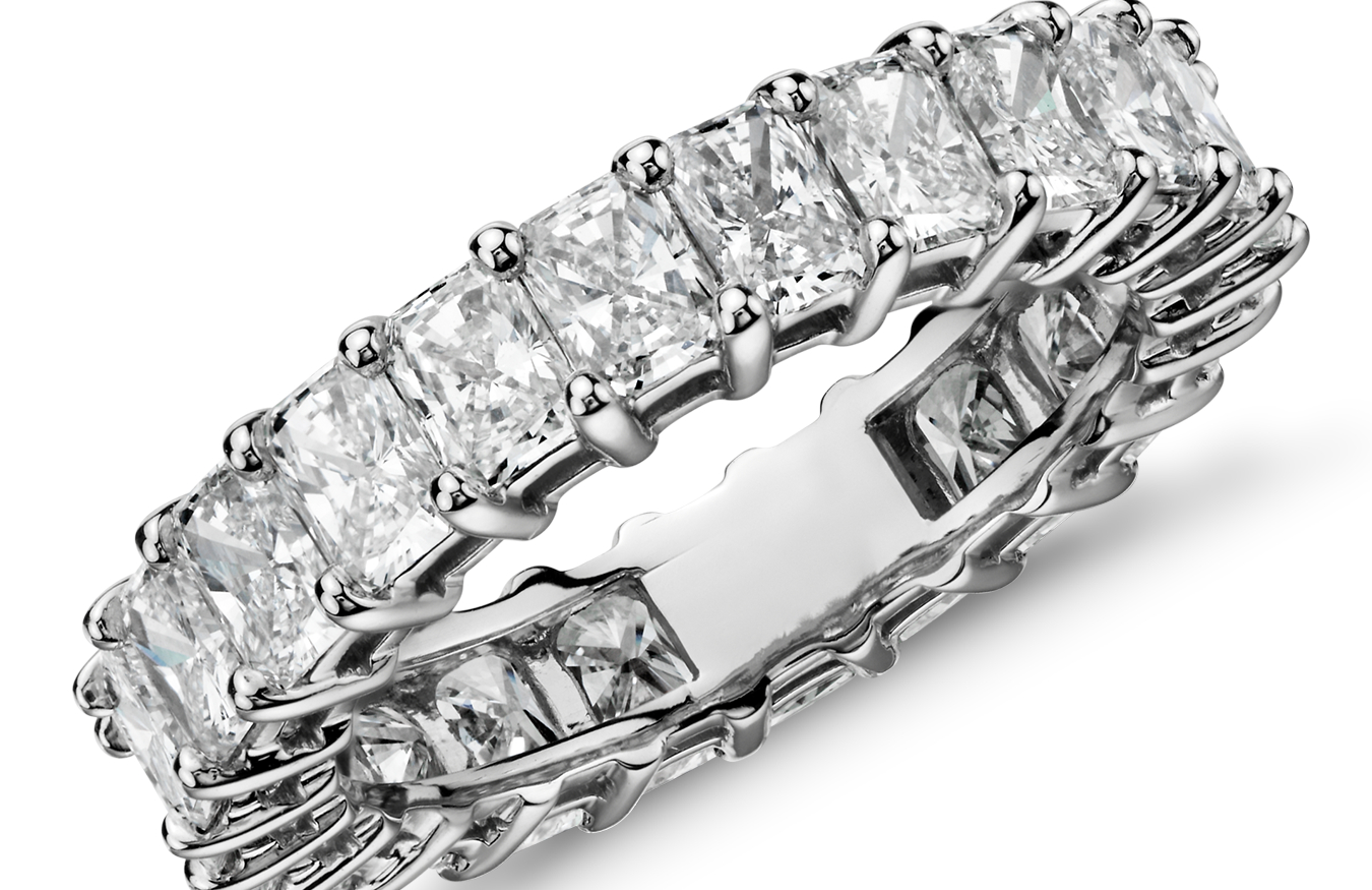 Radiant-Cut Diamond Eternity Rings in Platinum