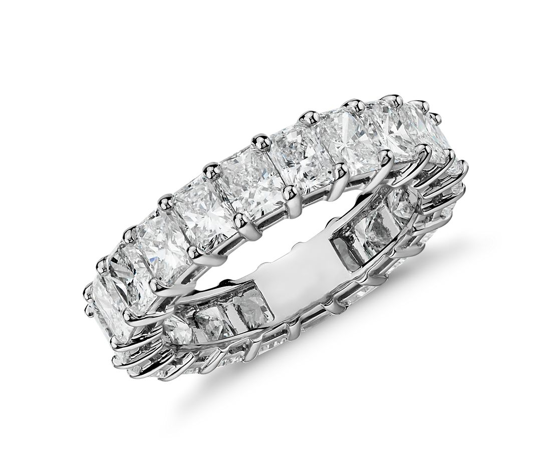 Radiant Cut Diamond Eternity Ring In Platinum 5 Ct Tw