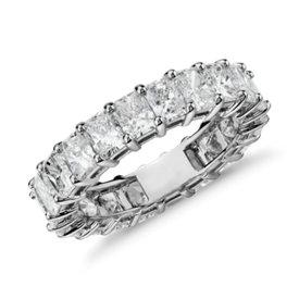Bague d'éternité diamant taille radiant en platine (5carats, poids total)