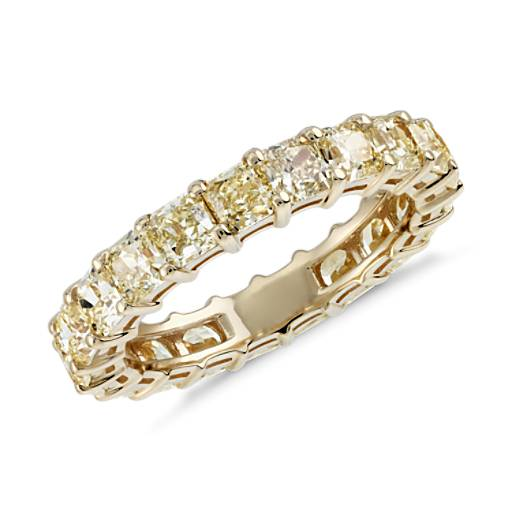 Radiant-Cut Yellow Diamond Eternity Ring in 18k Yellow Gold (3.51 ct ...