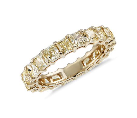 Radiant Cut Yellow Diamond Eternity Ring In 18k Gold 3 51 Ct Tw