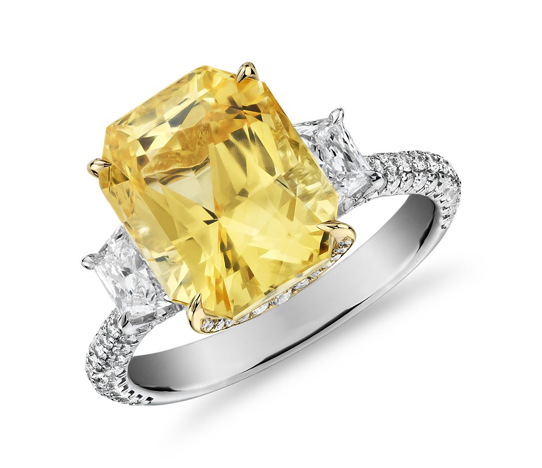 Radiant Cut Yellow Sapphire Ring With Diamond Sidestones
