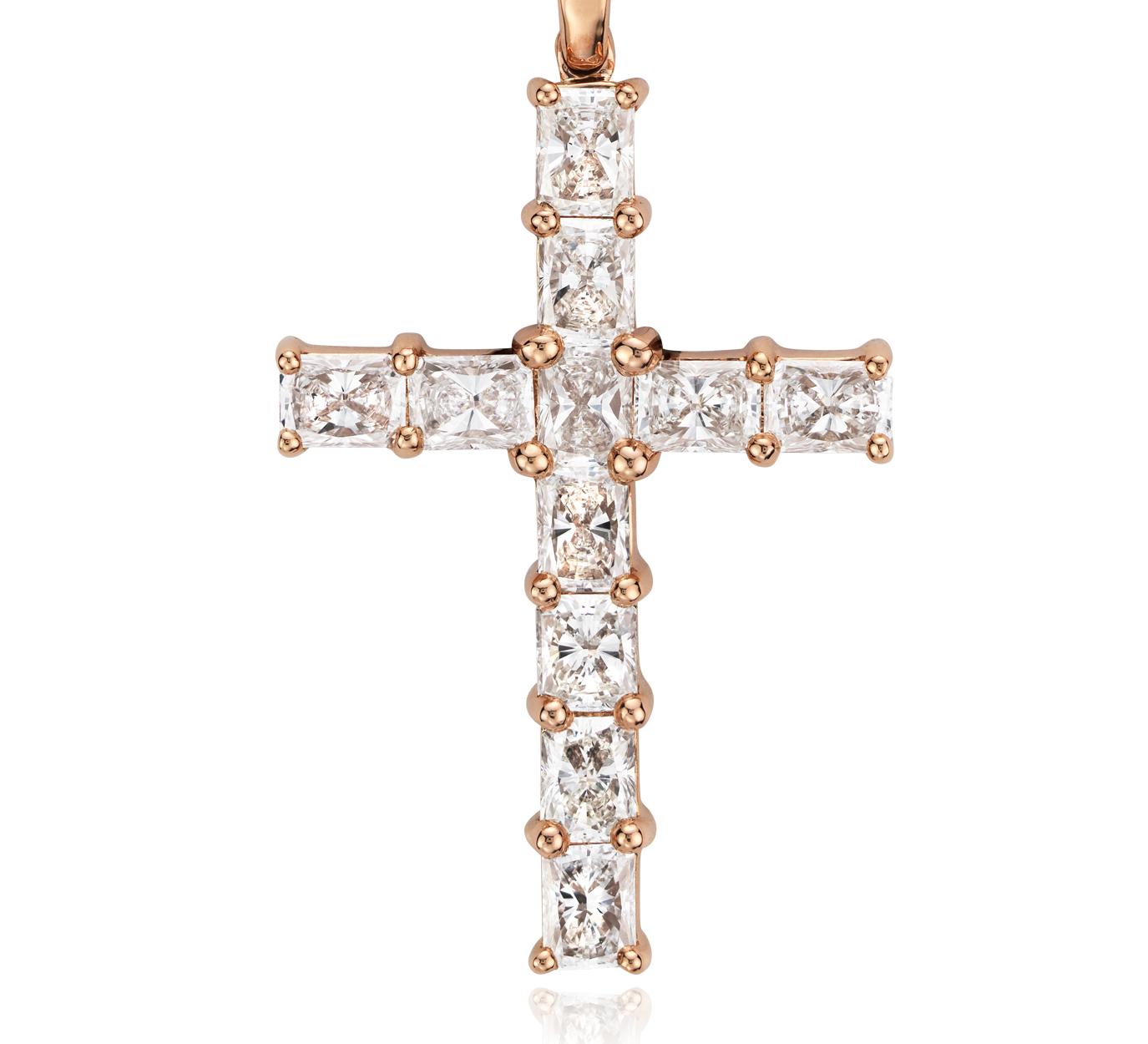 Resplandeciente cruz de diamantes en oro rosado de 18k (2 qt. total)