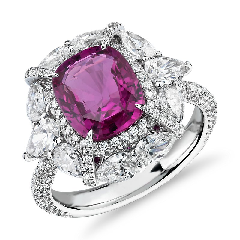 Radiant-Cut Pink Sapphire Ring with Pear-Shaped Diamond Halo in 1