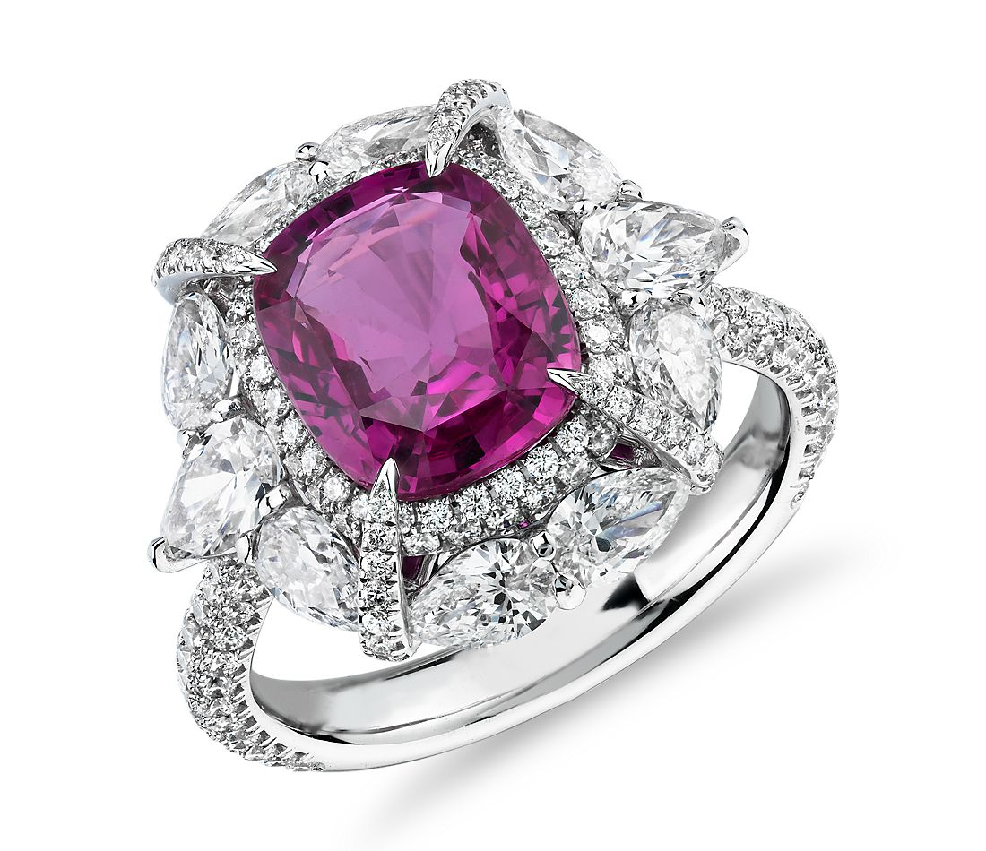 Radiant Cut Pink Sapphire Ring With Pear Shaped Diamond Halo In 18k White Gold 6 57 Ct Centre