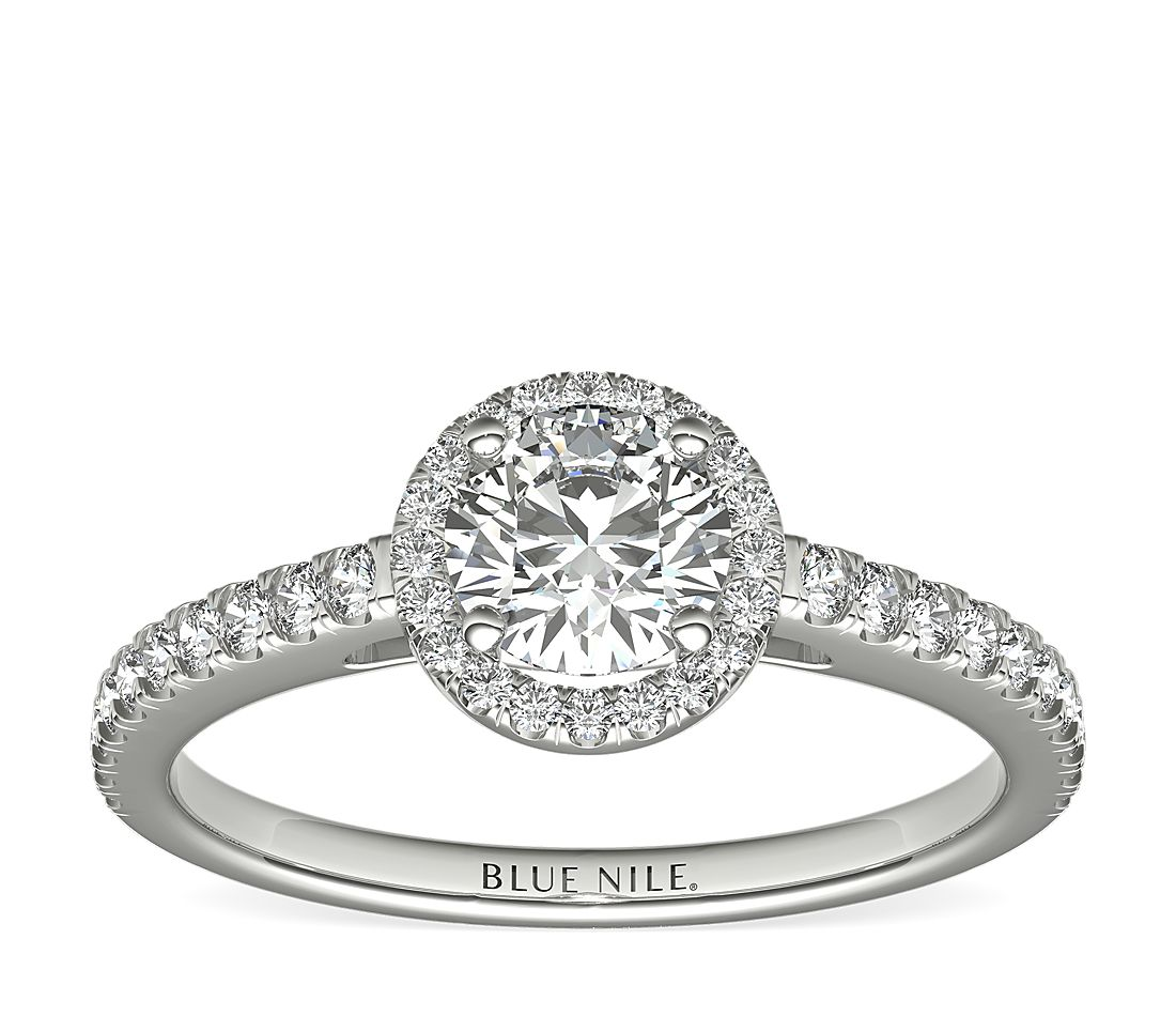 1/2 Carat Ready-to-Ship Classic Halo Diamond Engagement Ring in 14k White Gold