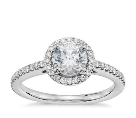 3/4 Carat Ready-to-Ship Classic Halo Diamond Engagement Ring in 14k White Gold