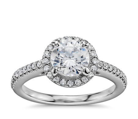 1 Carat Ready-to-Ship Classic Halo Diamond Engagement Ring in 14k White Gold